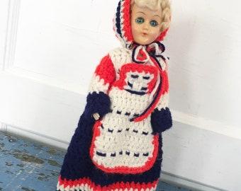 Vintage Doll Open Shut Eyes Red White Blue Crochet Outfit Patriotic Knickerbocker