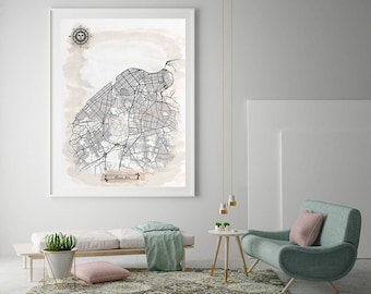 HAVANA Cuba Watercolor Map Art Black Ink and Light Watercolor Vintage City Map Large Size Graphic Drawn Wall Art Canvas Map