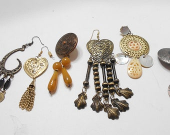 Six Vintage Dangle Earrings (5864) Unmatched---These Are Singles!!! One Clip & Five Pierced