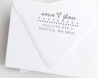 Calligraphy Hearts and Dots Address Stamp
