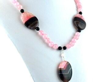 Rose Pink Quartz and Sardonyx Pendant Necklace, Stone Pendant, Stone Necklace, Statement Necklace