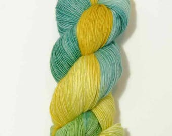 Hand Dyed Yarn - 'Mythological' - Superwash Merino Single Ply Fingering Weight Yarn yellow blue green 434 yards