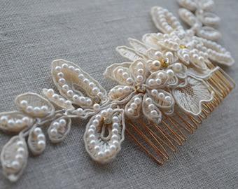 Bridal Hair Comb - Lace Headpiece - Wedding Hair Comb - Wedding Hair Accessories - Bridal Hair Pieces - Hair Jewelry - Ivory Wedding Comb