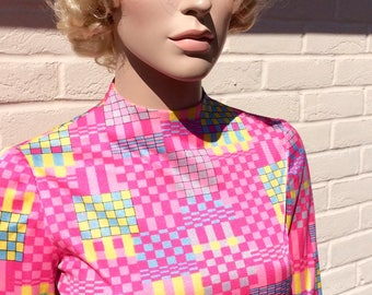 1960s pink neon scooter dress UK 10