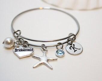 personalized bridesmaid beach wedding bracelets, bridesmaid beach wedding bangle, bridesmaid beach wedding set, bridesmaid beach theme gift