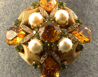 Vintage Signed Vendome Brooch Pin Date 1950s Large Spray Size 50 x 50mm J0046 Vintage Costume Jewelry