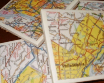 Map Coasters - Philadelphia Road Map...Set of 4...Full Cork Bottoms...For Drinks and Candles