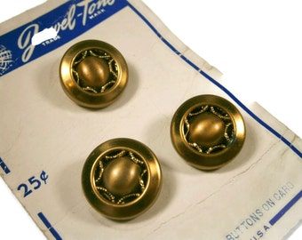 3 Brass and Copper Twinkle Buttons on Store Card, Mirror Back Metal Buttons, Set of Three Buttons