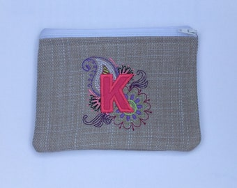 Personalised Initial Handmade Mehndi Style Embroidered Lined Zipper Bag Purse Make Up Pencil Case Gadget Pouch Gift for Her