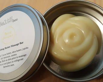 Sweet Caroline Nourishing Buttery Massage Bar / romantic massage / dry skin nourishing / couples massage / relaxing massage oil