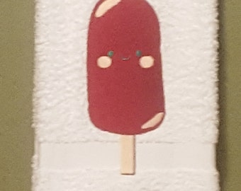 Machine Embroidered Popsicle Design Hand Towel
