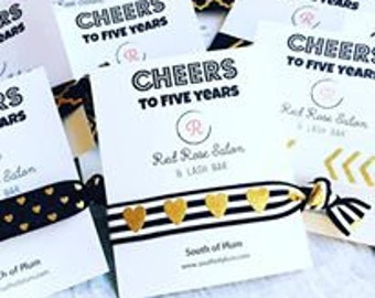CHEERS to One Year! // Business Anniversary Celebration // Favor for Gift Bag // Elastic Hair Tie // Marketing