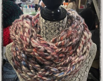 Fall Harvest- knitted infinity scarf