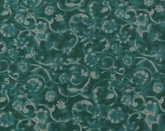 SALE!! Turquoise Flowers and Scrolls Fabric By the Yard