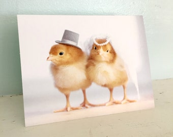 Chickens In Wedding Hats Chicks Baby Animals Notecard Cute Marriage Card Stationary #91