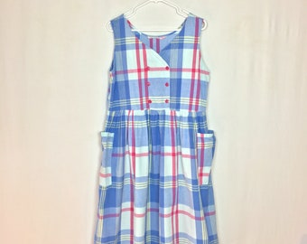 Vintage 1980s Madras Plaid Cotton Sundress / Made by Sita / Full Skirt / Made in India