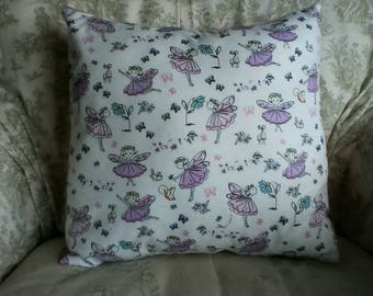Fairy print flannel pillow cover