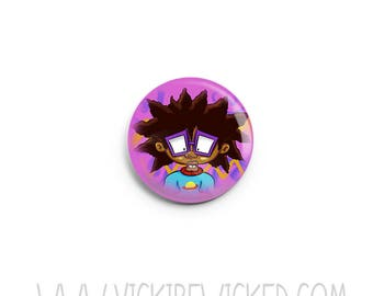 Cartoon, Rugrats Inspired,  Brown Chucky, Pinback Button