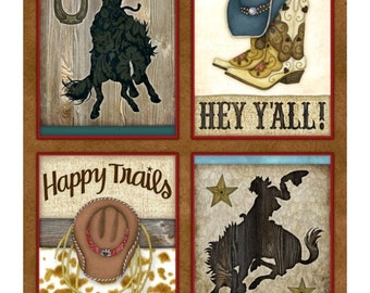 Rodeo roundup cowboy panel,  boots hat, bronco bareback horse riding, by Henry Glass, Western Fabric by the yard, coordinates pictured