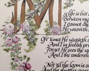 My Life is but a Weaving/ecru/The Tapestry Poem by Corrie ten Boom/8.5x11, print of original art work/ecru
