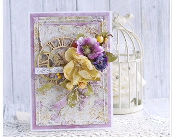 Lavender & Mustard Unique Handmade Any Occasion Card in a Box 2018 Trends