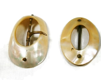 Two Mother of Pearl Vintage Buckles, Oval MOP Belt Buckles, Abalone Dress Buckles