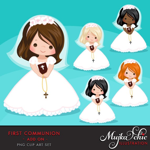 first communion clipart for girls communion characters rh etsy com first communion clipart black and white first communion clipart png