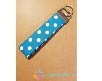 Blue Polka Dot Key Fob