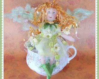 fairy, pixie, handmade OOAK art doll, fanciful fairy, fantasy doll,flower fairy, fairies, soft sculpture, poseable