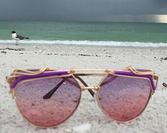 Purple Pink Sunglasses, Artisan Gold Wire Wrapped Sunglasses, Spunglasses, Festival Sunglasses, Unique Sunglasses, Boho Retro Glasses