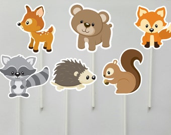 Woodland Animal Cupcake Toppers, Woodland Cupcake Toppers, Forest Animals, Bear, Squirrel, Fox, Raccoon, Porcupine, Deer (103171047P)