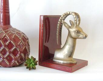 Vintage Brass Ibex Sculpture, mid century modern decor, brass gazelle, antelope statue, ram head, brass animal bust