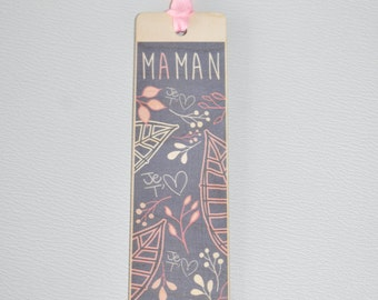 Bookmark wooden - Mama I love you - leaves shades grey & pink