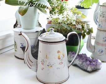 Antique French Enamelware Coffee Pot, Bluebird, very early piece, Flower Vase, hand-painted decor, c. 1860's, very rare, Housewarming Gift