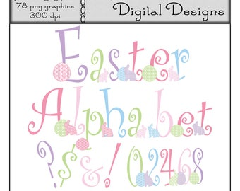 Digital Clipart, Easter Egg and Bunny Alphabet, Letter Clip Art, Commercial Use Clipart, Printable Graphic, Pastel Colors, Geometric Pattern