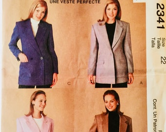 McCall's 2341, Size 22, Misses' Lined Jacket Pattern, UNCUT, Classic Jacket, The Perfect Jacket, Blazer, Suit Jacket, Outerwear