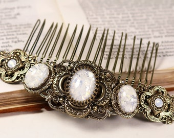 White Bridal Comb, Cream Stone, Hair Accessory, Ren Faire, Medieval Jewelry, Medieval Wedding Comb, Canterbury
