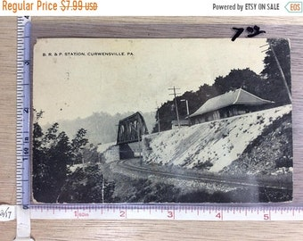 10%OFF3DAYSALE Vintage Old Post Card B R And P Station Curwensville Pa Post Marked Used
