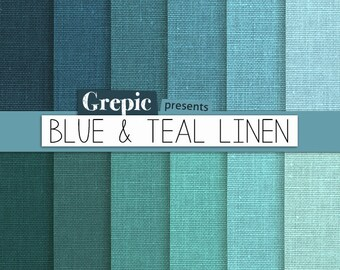 """Blue linen digital paper: """"BLUE & TEAL LINEN"""" with blue / green / teal / turquoise linen backgrounds / textures / for scrapbooking, cards"""