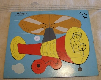 Vintage Playskool Child's Wooden Puzzle Helicopter 10 Pieces Kid's Toy