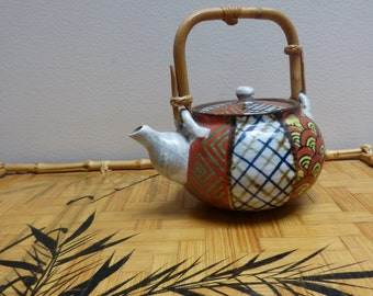 Vintage Japanese Hand Painted Artisan Clay Teapot