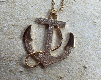 Anchors Away Pendant Necklace, Anchor, Statement Necklace, Gifts for Her, Pendant, Necklace, Rhinestones