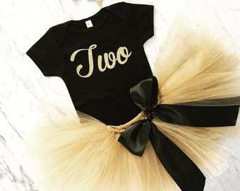 first birthday outfit, second birthday outfit, gold tutu, glitter headband, baby girl outfit, 1st birthday outfit, cake smash outfit