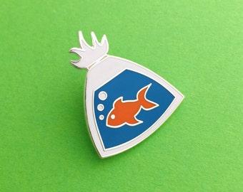 Fish In A Bag Enamel Lapel Pin Badge
