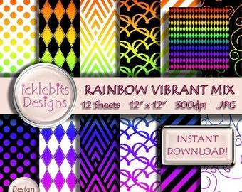 "Rainbow Vibrant Gradient Pattern ""CHASING RAINBOWS"" Digital Scrapbook TEXTURED Paper Pack 12x12"", 12 sheets - striped paper, #Design3"