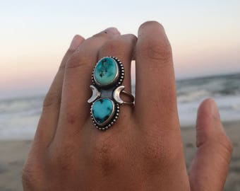 Turquoise Traveler Ring | Turquoise Ring | Sterling Silver Ring | Turquoise Jewelry | Bohemian Jewelry | Moon Ring | Moon Jewelry