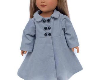 Gray Doll Coat, Grey Corduroy Doll Coat, Winter Doll Clothes, 18 Inch Doll Clothes