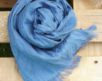 Blue Linen Scarf  - Denim color -Natural-Pure Linen