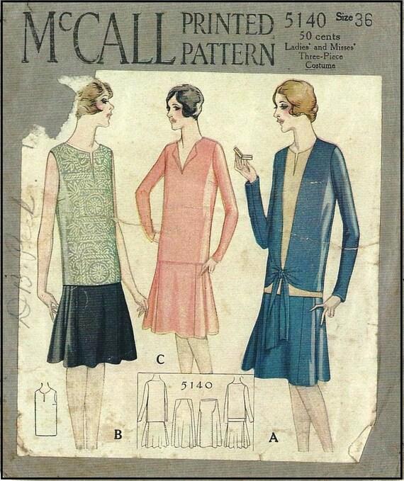 1928-Damen drei Stück Ensemble Reproduktion Schnittmuster