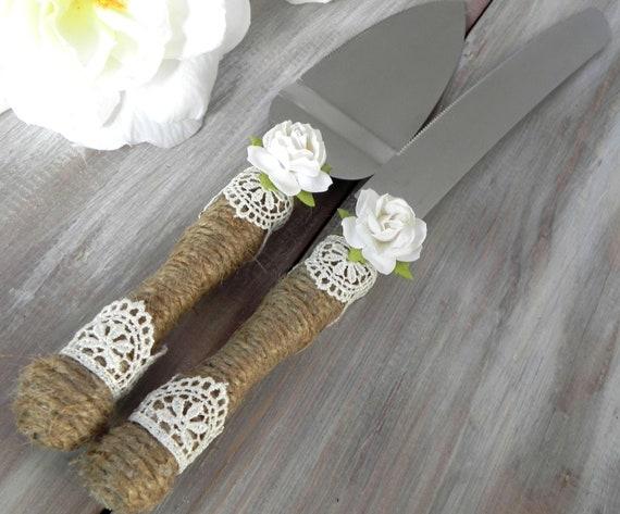 Rustic Wedding Cake Server Knife Set Burlap Ivory Lace and Rose Bridal Shower Gift Wedding Gift You Choose Colors